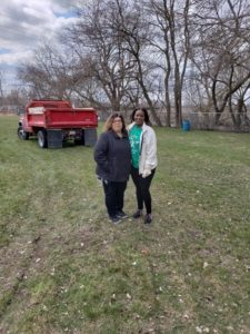 Burnham Park 4-17-18- Burnham Village Clerk Lus Chavez and Calumet City Clerk Nyota Figgs and also President of Calumet Memorial Park District